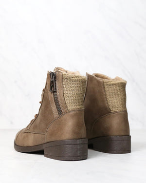 Brielle Ankle Sweater Booties with Side Zippers in Taupe