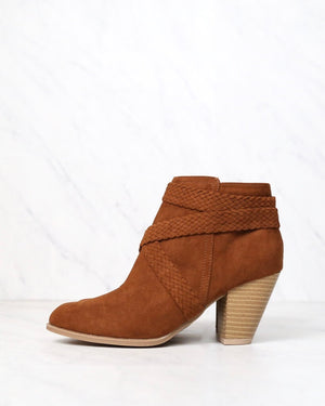 a rare braid taupe vegan suede booties - dark rust