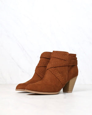 Final Sale - A Rare Braid Vegan Suede Booties - Dark Rust