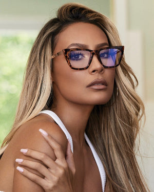 Quay Australia - Don't @ Me Blue Light Cat Eye Glasses - Tort/Clear