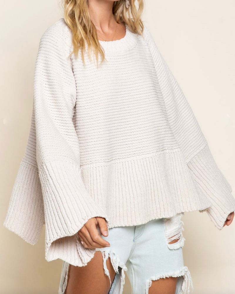 Relaxed Fit Scallop Edge Long Bell Sleeve Knit Sweater in Almond