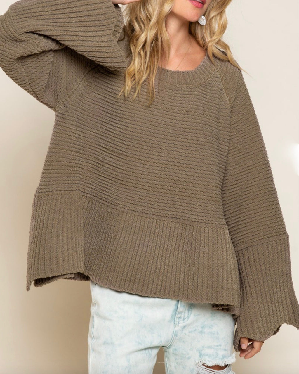Relaxed Fit Scallop Edge Long Bell Sleeve Knit Sweater in Olive