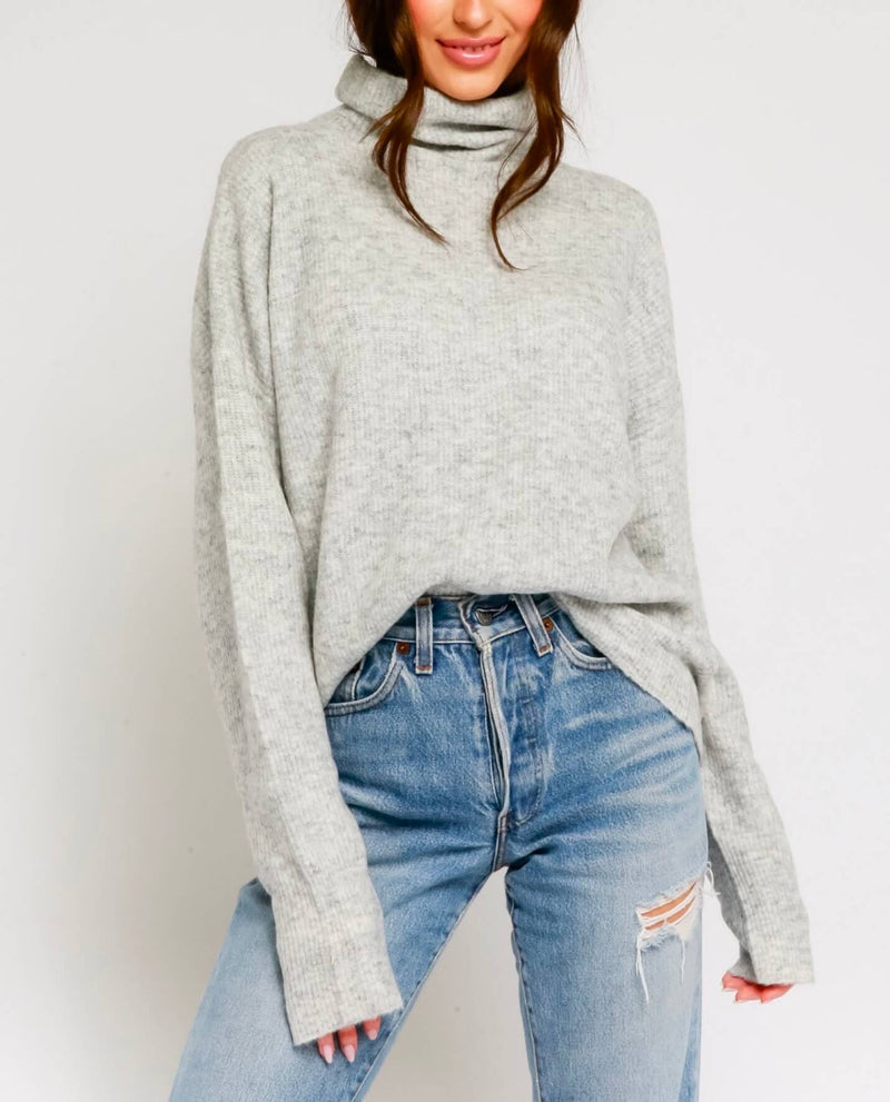 Brenda Fuzzy Mock Neck Sweater in More Colors