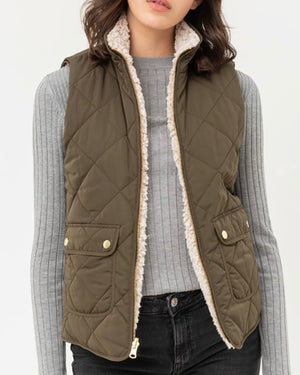 Reversible Quilted Sleeveless Padding Vest in More Colors