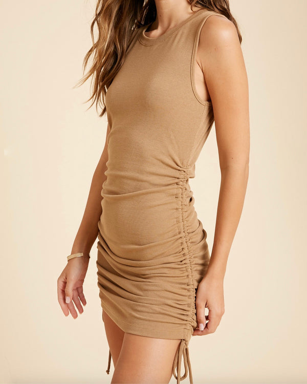 Rosie Ribbed Side Shirred Mini Dress in More Colors