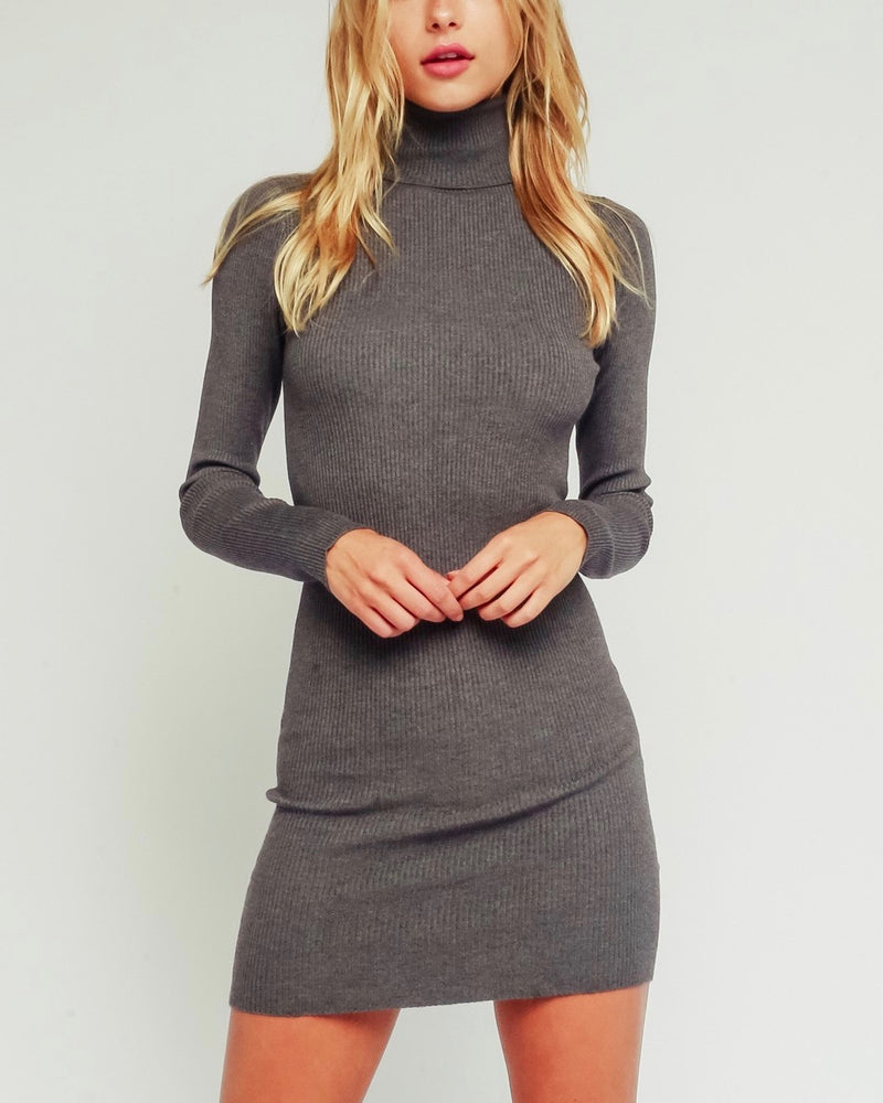 Hailey Ribbed Turtleneck Bodycon Sweater Dress in Charcoal