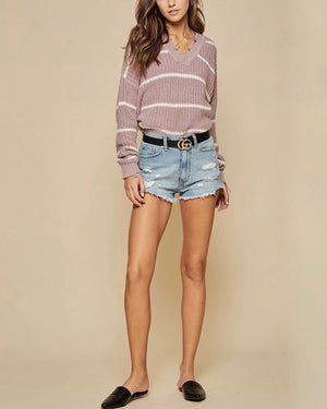 Raw Edge Detail V-Neck Knit Sweater - Mauve