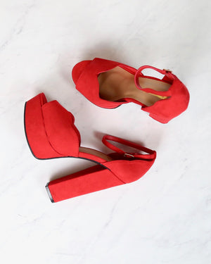 Red Suede Ankle Strap High Heel Sandals