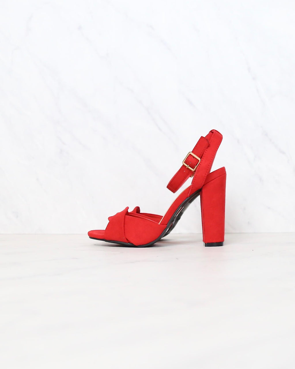 Red Suede Front Knot Ankle Strap Heels