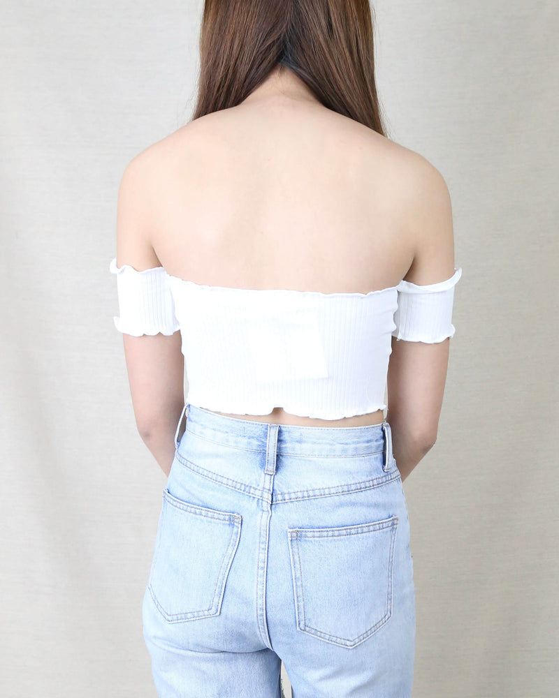 Reverse - Pretty Lady Ribbed Crop Top in White