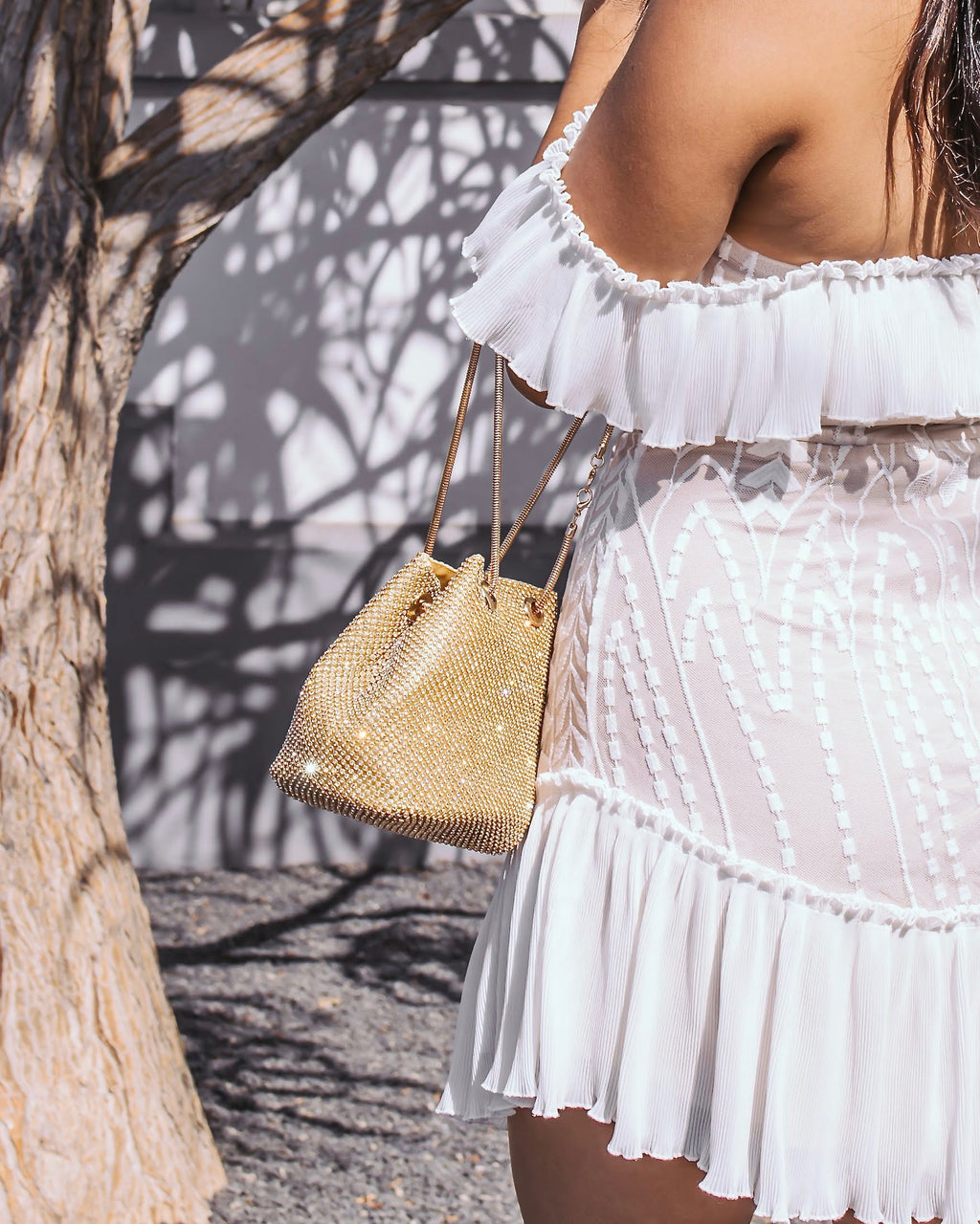 Rhinestone Mesh Convertible Bucket Bag - Gold