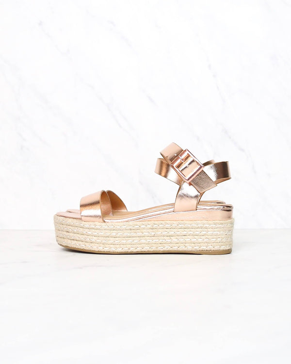 Rose Gold Metallic Vegan PU Leather Single Band Espadrilles Platform Sandal with Ankle Strap