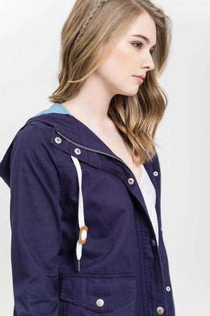 lightweight woven jacket - navy/light denim