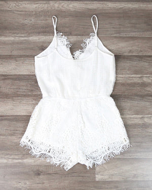 Lace Embroidered Romper in Ivory