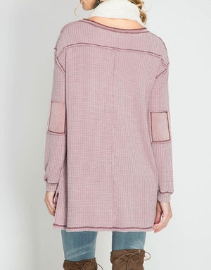 long sleeve stone washed thermal top - mauve