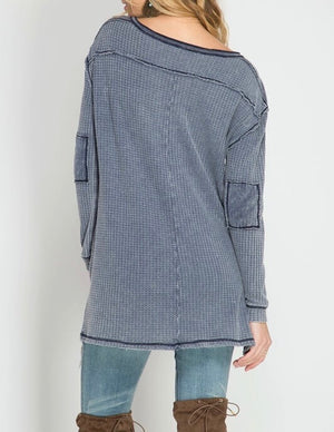 long sleeve stone washed thermal top - navy