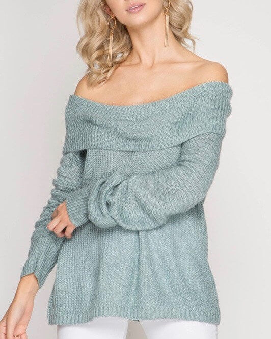 Long Sleeve Off the Shoulder Sweater in Slate Blue
