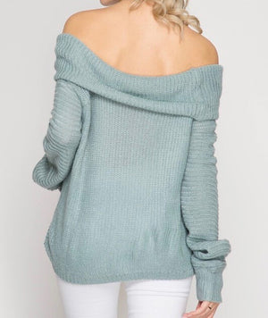 long sleeve off the shoulder sweater - slate blue
