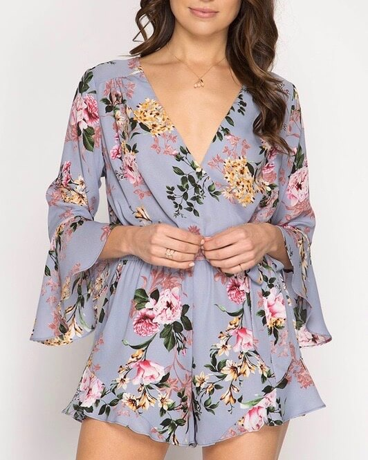 Final Sale - Flare Sleeve Floral Print Romper in Misty Blue