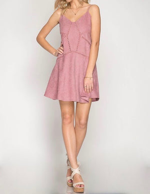 Final Sale - Cami Corduroy Dress in Rose
