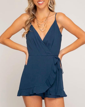 love story sleeveless wrap romper - more colors