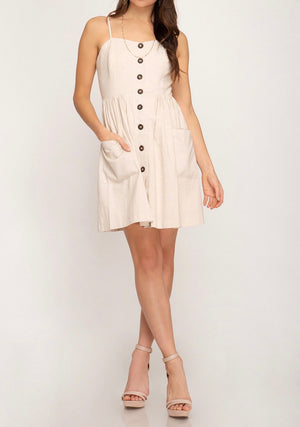 sugar pie button down dress - natural