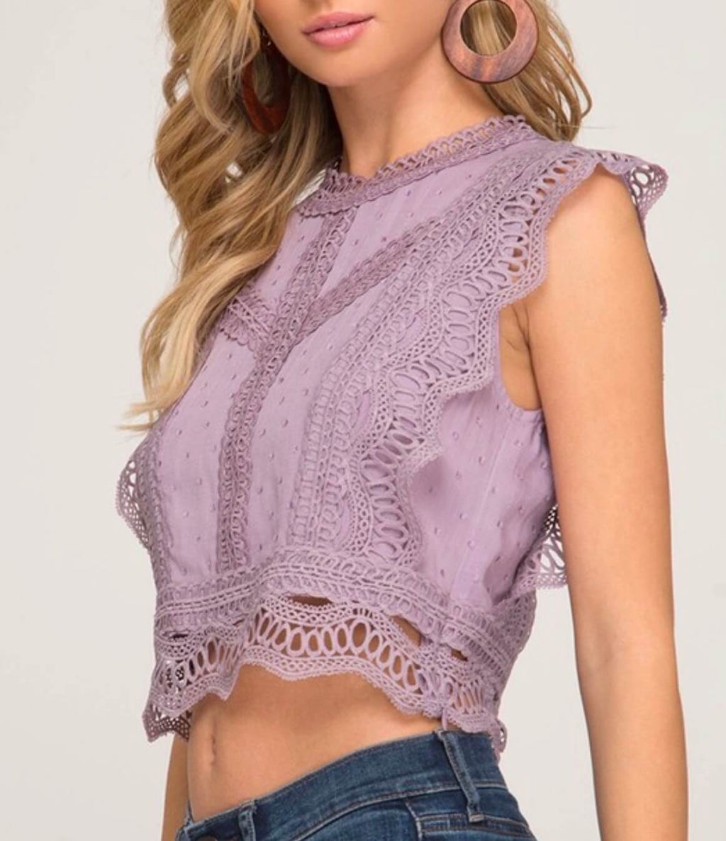 it's you polka dot woven crop top - misty lilac