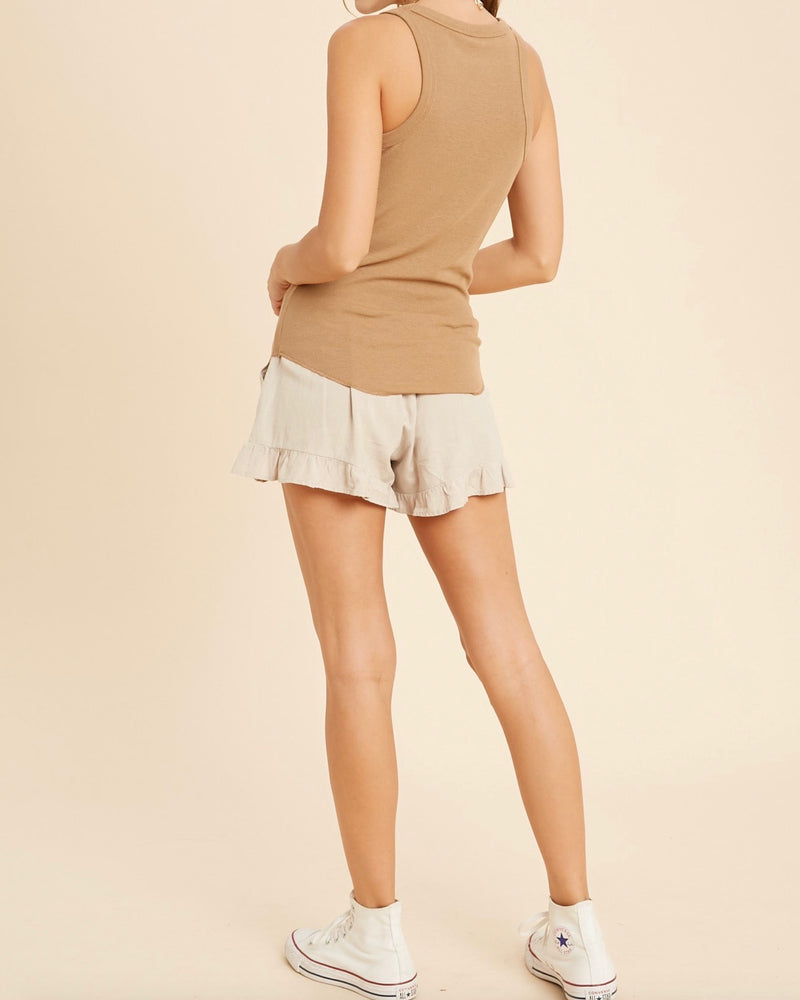 Stella Sleeveless Fitted Rib Tank Top in Camel