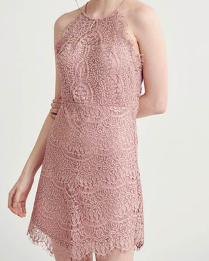Sleeveless Halter Lace Mini Dress - More Colors