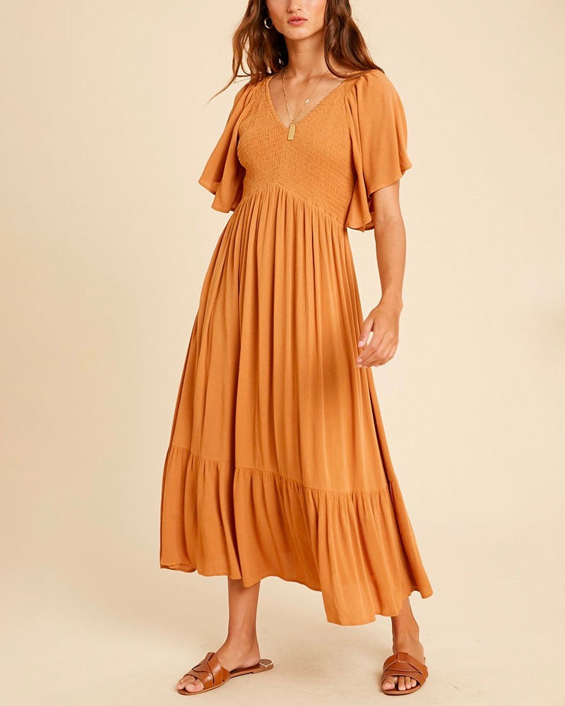Freya Flutter Sleeve Smocked Midi Dress in Orange