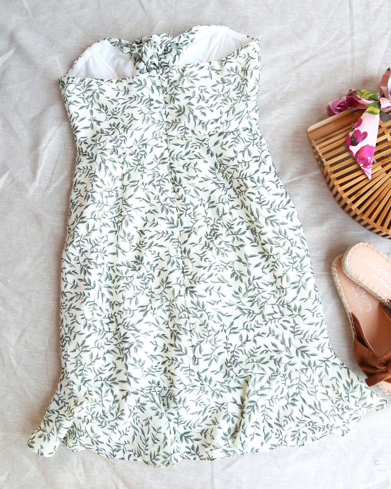 Goddess Leaf Print Mini Dress in Sage