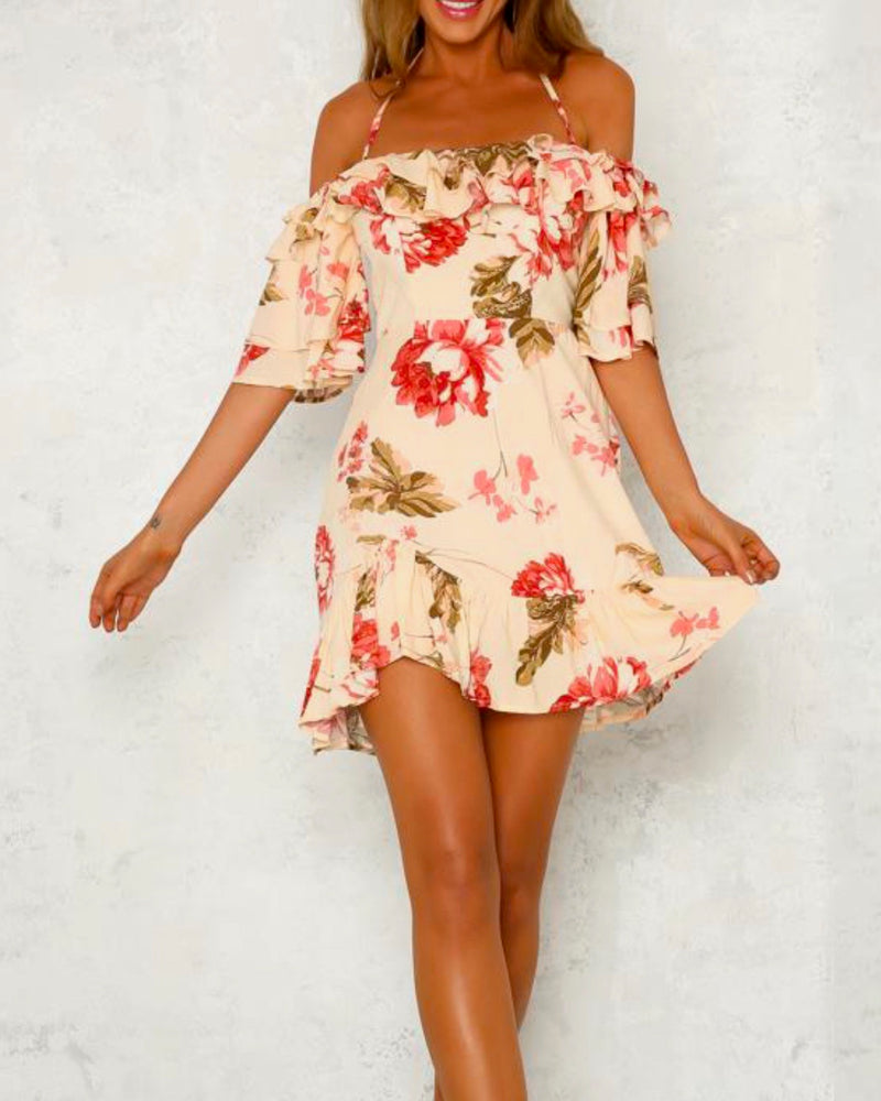waking up to you floral halter dress - beige/pink