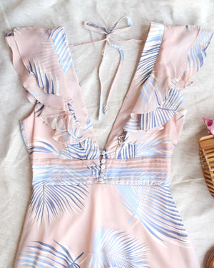 beach please leaf mini ruffle dress - pink