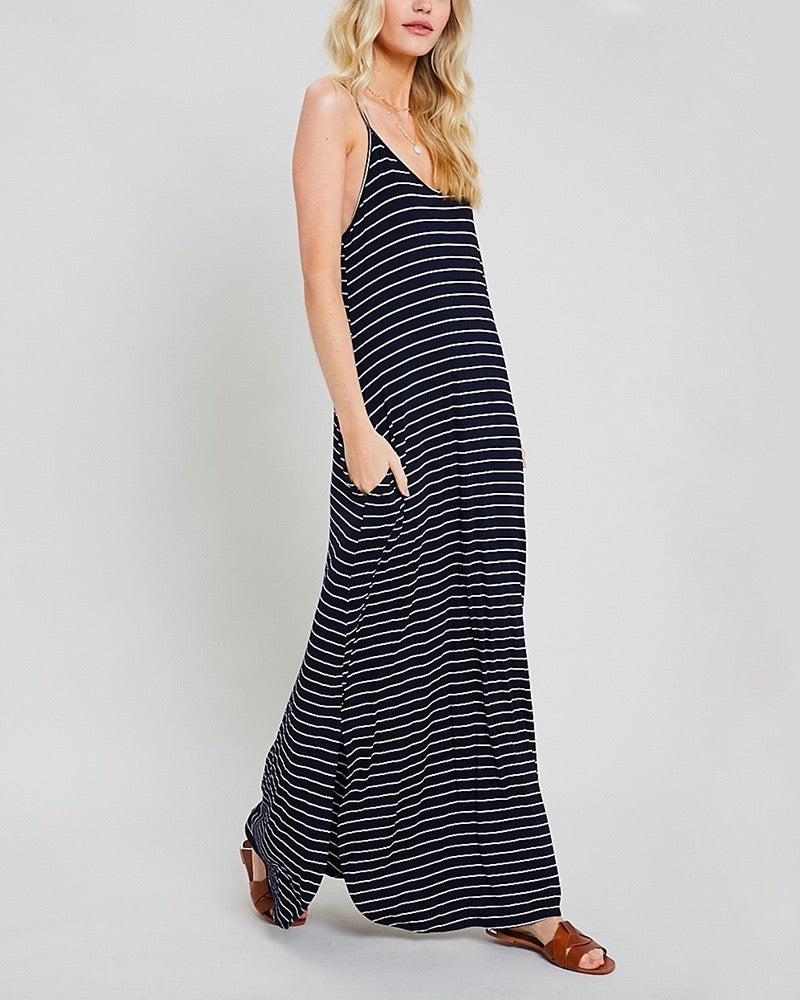 Weekend Striped Cami Maxi Dress with Pockets - Navy/White