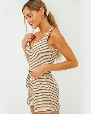 Moonlight Stripe Ribbed Sleeveless Lounge Set in Cream/Black