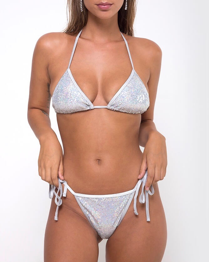 MOTEL - sugar rush sequin bikini separates - diamond shine