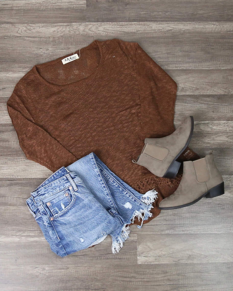 Hypnotize Knitted Sweater with Embroidered Trim in Brown