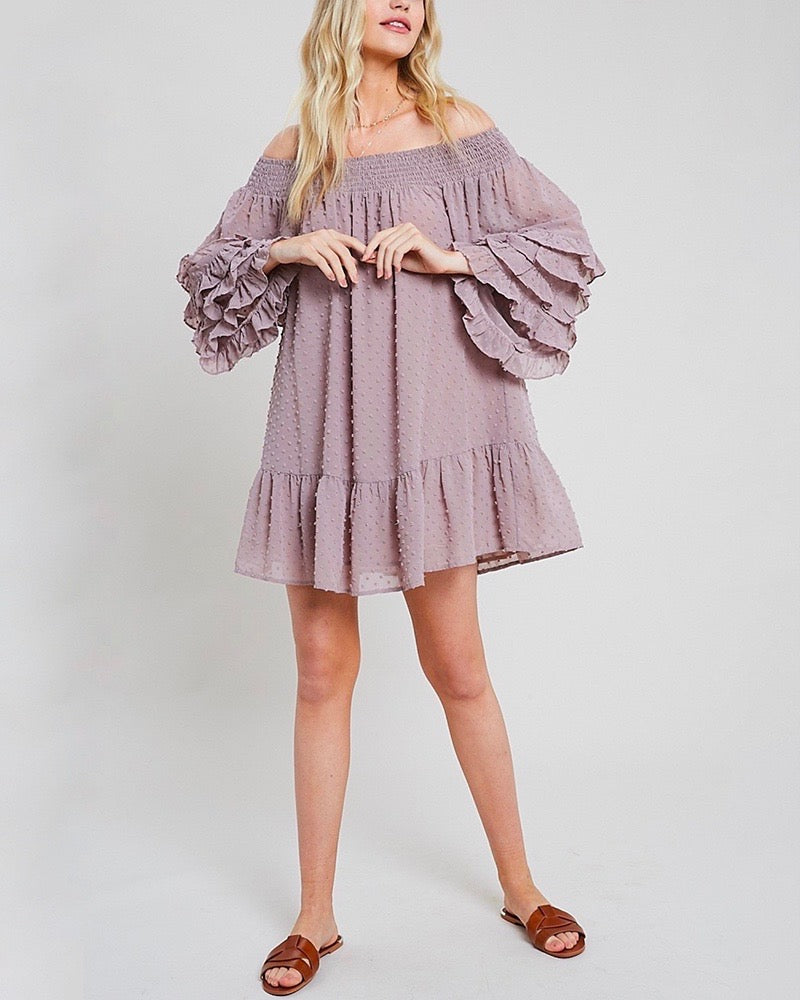 Swiss Dot Ruffle Tiered Sleeve Off-The-Shoulder Tunic Dress in Misty Lavender