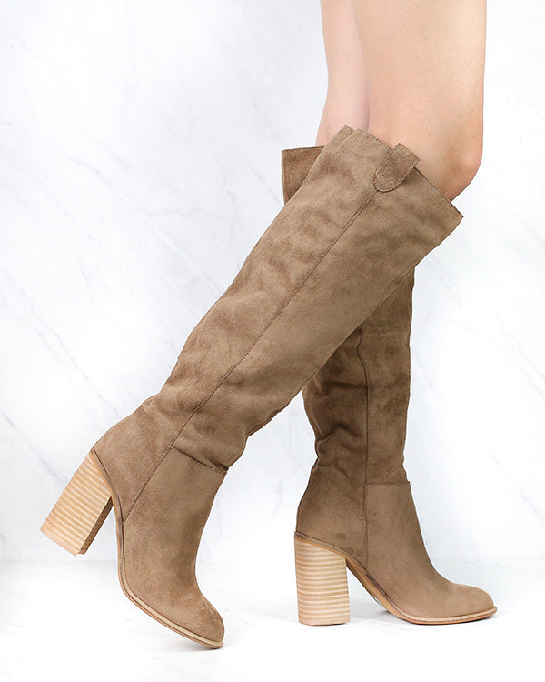 Saint Slouch Box Cut Knee High Suede Block Heel Boot in Camel