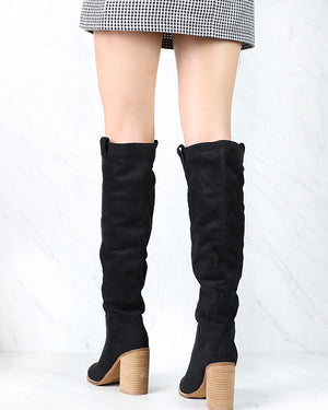 Saint Slouch Box Cut Knee High Suede Block Heel Boot