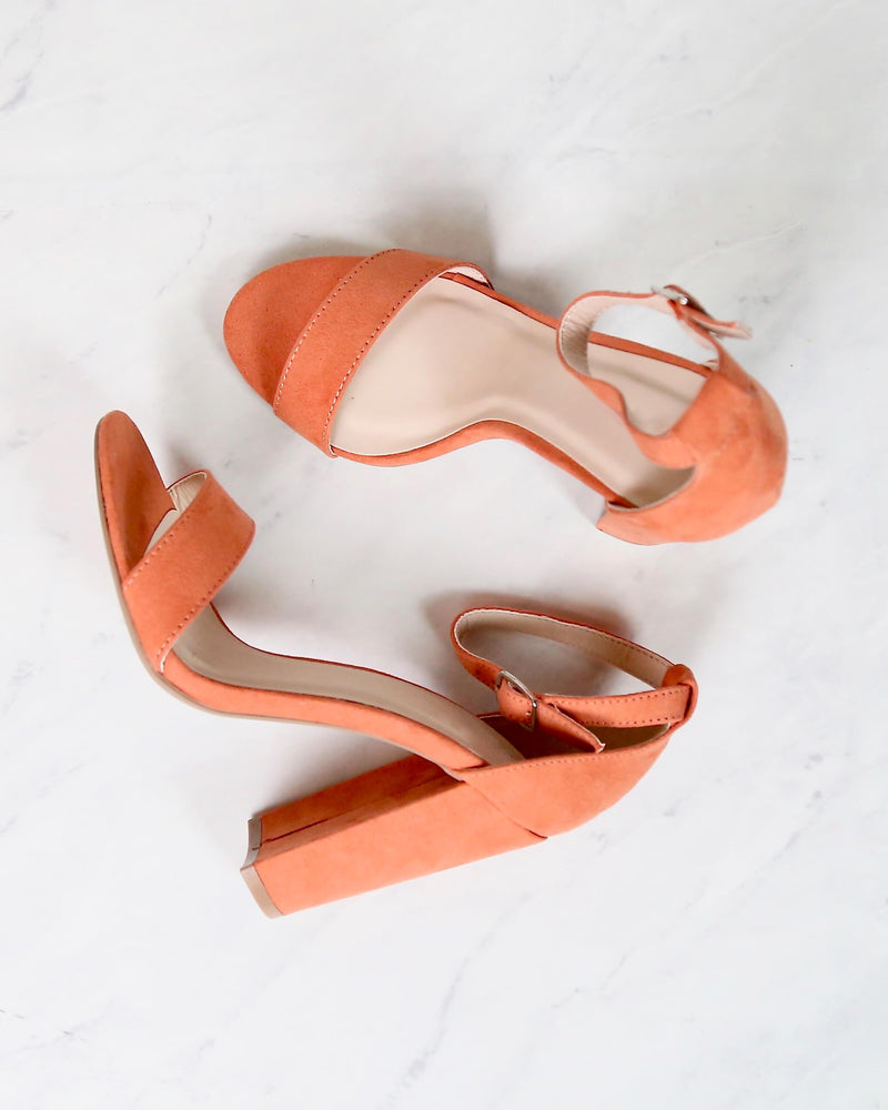 Sassy Ankle Strap Chunky Heels in Ash Coral Suede cashmere-01 ash coral