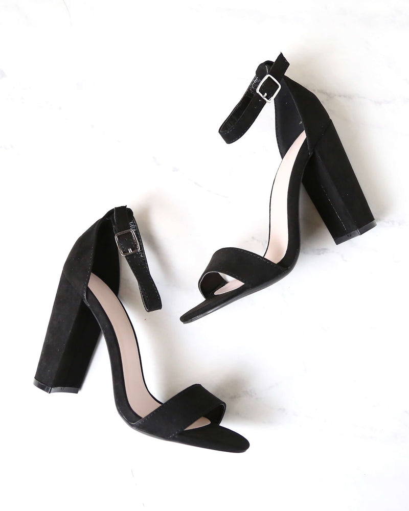 Sassy Ankle Strap Chunky Heels in Black Suede