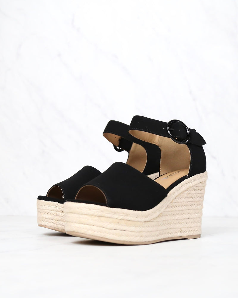 Sassy Espadrille Wedges in Black Suede