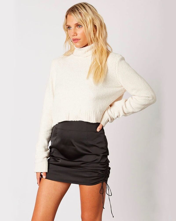 Reagan Satin Cinched Side Mini Skirt in Black