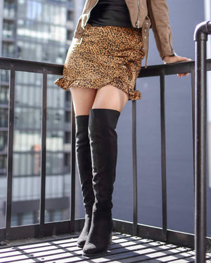 Satin Tan Ruffle Hem Faux Front Wrap Mini Skirt in Leopard Print