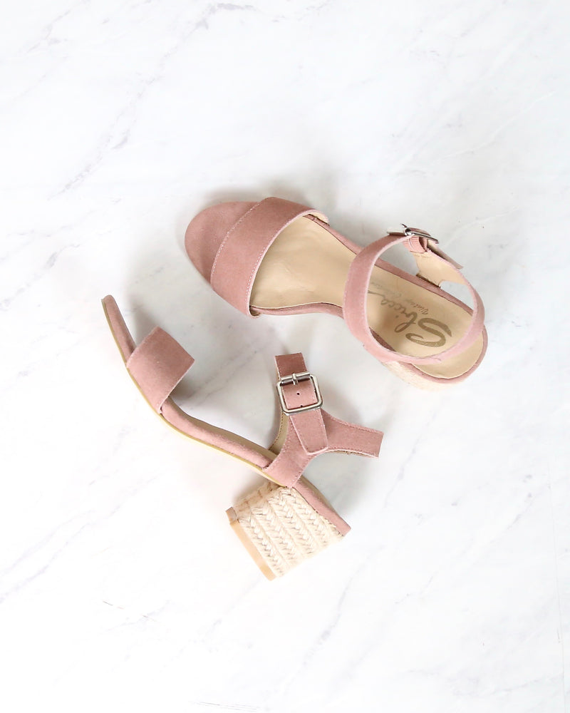 Sbicca - Whirlaway Blush Suede Leather Ankle Strap Jute Heels
