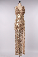 perfect party ball gown gold sequin maxi dress - shophearts - 2