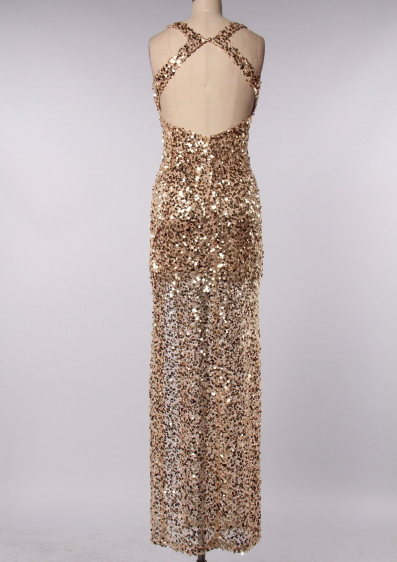 Perfect Party Ball Gown Sequin Maxi Dress Gold Shophearts