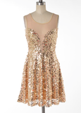 midnight rendezvous gold sequin darling party dress - shophearts - 2