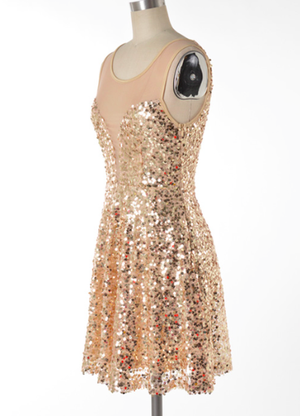 midnight rendezvous gold sequin darling party dress - shophearts - 3